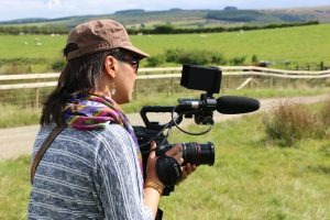 producer/director Raquel Toniolo filming in Wales