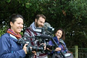 Raquel Toniolo and Craig Morris filming in Wales