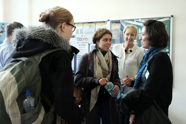 photo of Producer/ Director Raquel Toniolo talking to students after her presentation on International Filming at Aberystwyth University on 19th February 2015