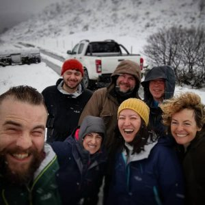 Picture of the crew in snow